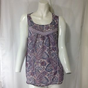 Lucky Brand Purple and Pink Paisley Blouse Small